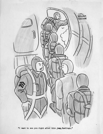 Parachutists lined up in airplane waiting for turn to jump, William Teason original