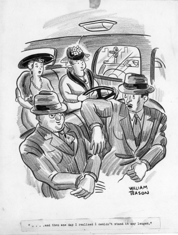 Two men talking in front of car, two women in backseat, one of them with steering wheel, William Teason original