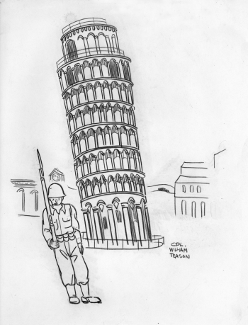 Leaning Guard at Tower of Pisa, William Teason original
