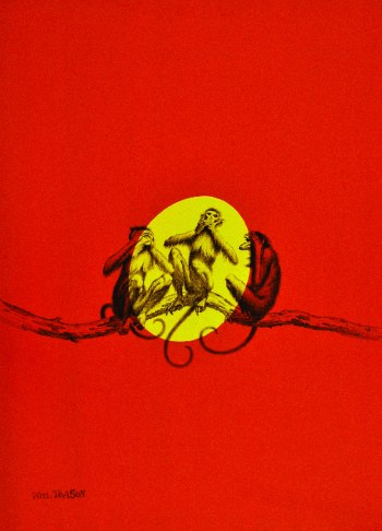 Speak No Evil, three monkeys on a branch with full moon behind them
