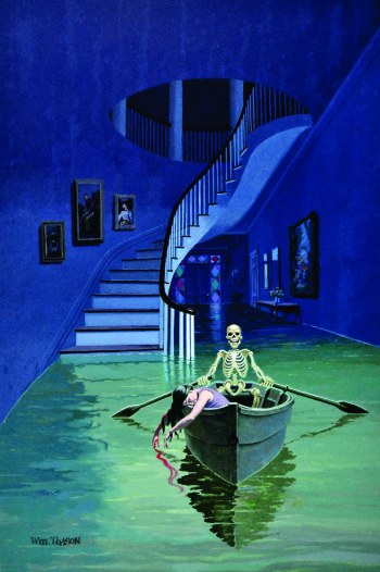 The Case of Jenny Brice, skeleton with dead woman in boat rowing at night with moonlight on water inside house