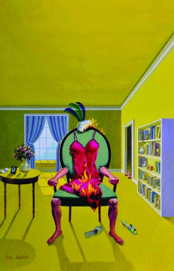 The Yellow Room, completely yellow room with one combination chair/person in flames