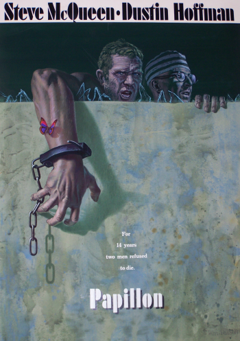 Movie poster from Papillon with Steve McQueen and Dustin Hoffman