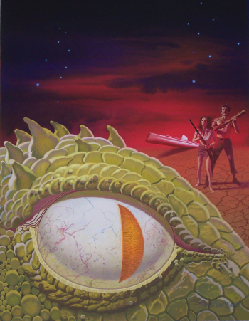 Movie poster, huge ey of green scaly monster and two small people in background